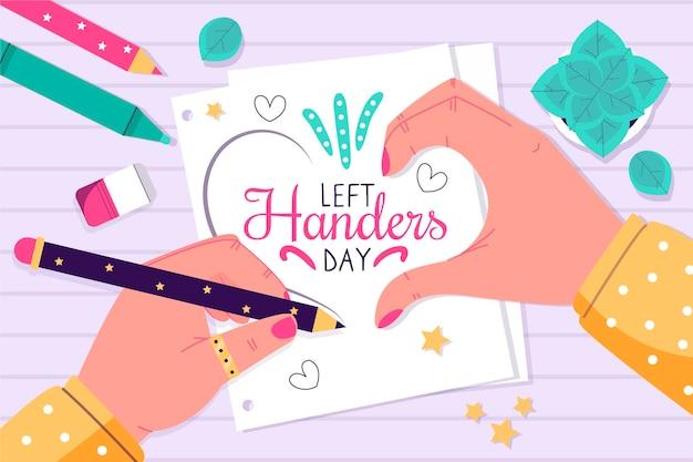 Día de zurdos con manos creando corazón