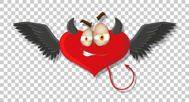 Diablo en forma de corazón con expresión facial