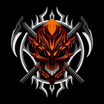 Diablo malvado cráneo y arma