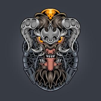 Diablo monstruo colmillo y cuernos ilustración