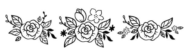 Diadema de flores doodle con rosa y hojas. colección de coronas florales en estilo de arte lineal. ramo para diadema para accesorio de mujer. ilustración de vector aislado sobre fondo blanco. guirnalda floral