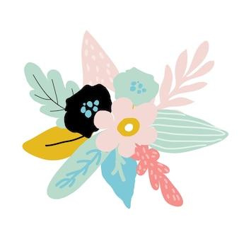 Diadema de flores de doodle con rosa y hojas. corona floral en estilo abstracto. ramo para diadema para accesorio de mujer. ilustración de vector aislado sobre fondo blanco. diseño de corona floral.