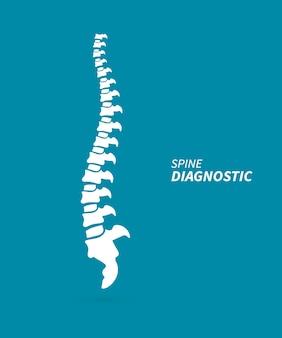 Diagnóstico de columna. concepto de columna de diagnóstico médico. espina dorsal humana aislada silueta ilustración