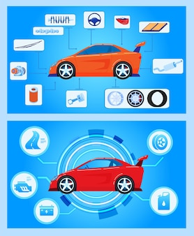 Diagnóstico de hardware de automóviles, estado del vehículo, escaneo, prueba y monitoreo, análisis, ilustración.