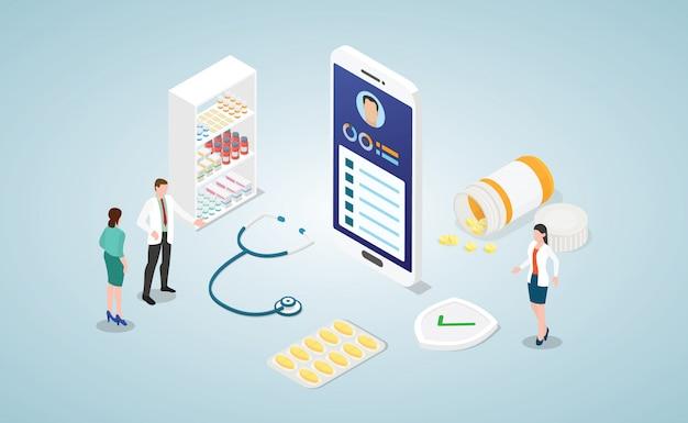 Diagnóstico en línea consulta médica de salud con médico con teléfono inteligente isométrico