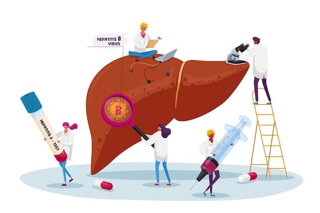 Diagnóstico médico día mundial de la hepatitis b, concepto de cirrosis, pequeños personajes del médico cuidado del hígado enfermo de un paciente enorme, atención médica, concienciación sobre el cáncer, tratamiento. gente de dibujos animados