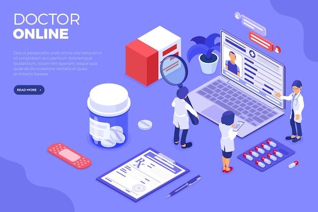 Diagnóstico médico en línea isométrico y lugar de trabajo de los médicos. portátil de iconos isométricos, rayos x, historial médico del paciente. recetas en línea. ilustración