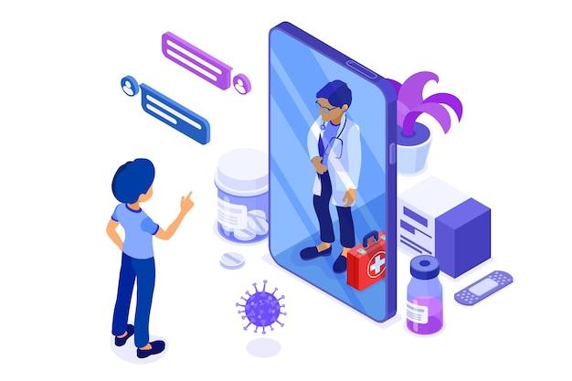 Diagnóstico médico en línea isométrico y lugar de trabajo de médicos.