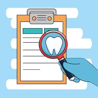 Diagnóstico de odontología con tratamiento de medicina y lupa