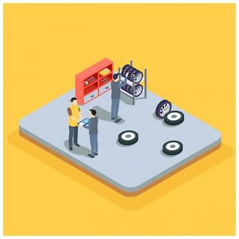 Diagnóstico y reparación de automóviles de servicio isométrico.