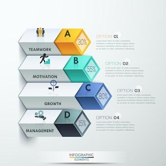 Diagrama 3d abstracto infografía opciones