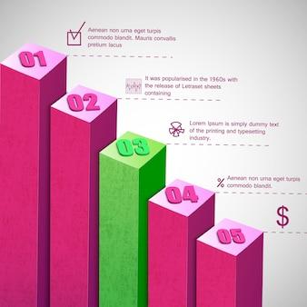 Diagrama de barras de negocios con campos de texto y estadísticas.