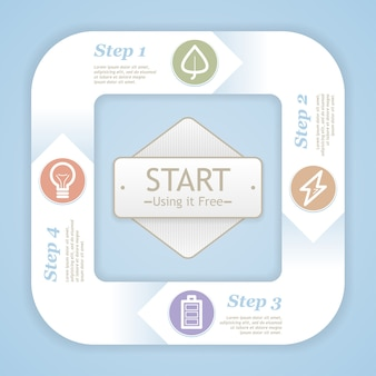 Diagrama del ciclo de vida. plantilla de diseño de color suave moderno eco infografía