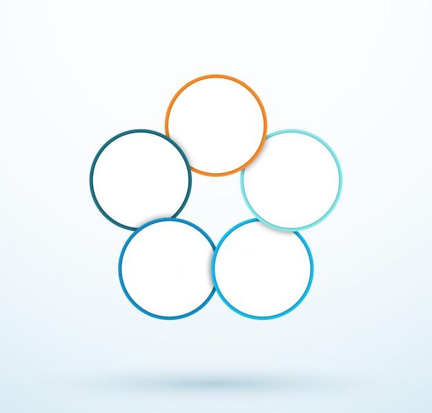 Diagrama de cinco círculos de infografía segmentos vinculados