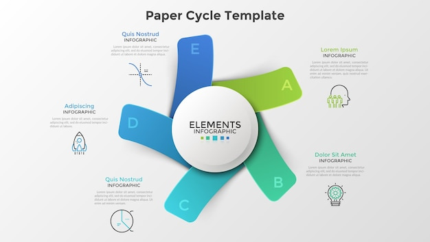 Diagrama con cinco rectángulos de colores de papel o tarjetas colocadas alrededor del elemento redondo blanco. plantilla de diseño de infografía moderna. ilustración de vector de moda para proyecto empresarial de 5 pasos, proceso cíclico.