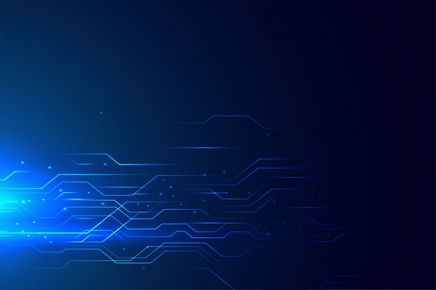 Diagrama de circuito de tecnología azul líneas brillantes