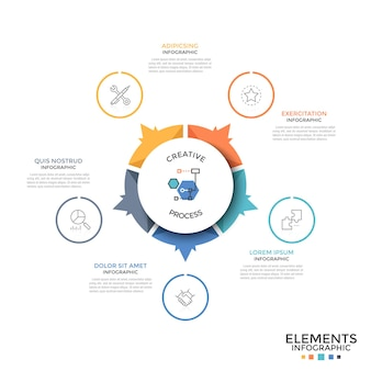 Diagrama circular dividido en 5 partes o sectores de colores iguales con flechas que apuntan a iconos lineales y cuadros de texto. plantilla de diseño infográfico inusual. ilustración de vector de folleto, informe.