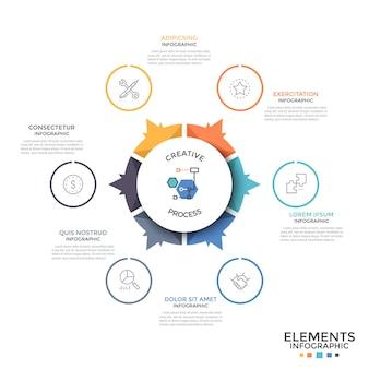 Diagrama circular dividido en 6 piezas o sectores de colores iguales con flechas que apuntan a iconos lineales y cuadros de texto. plantilla de diseño infográfico inusual. ilustración de vector de folleto, informe.