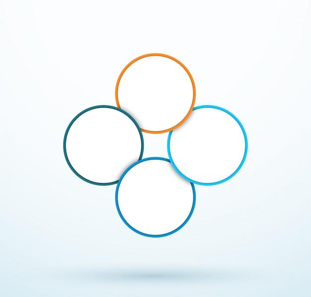 Diagrama de cuatro círculos de infografía segmentos vinculados