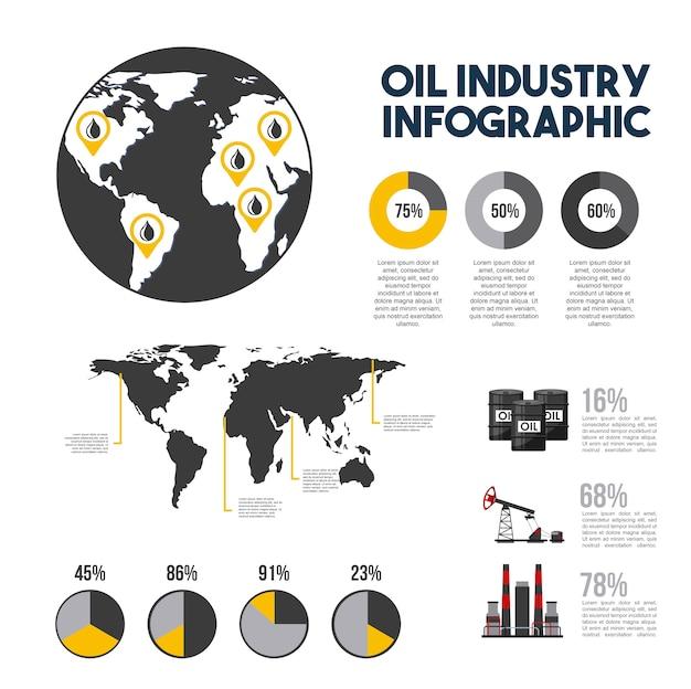 Diagrama de tablas de extracción de gas de infografía de industria petrolera