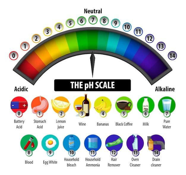 El diagrama de escala de ph sobre fondo blanco.
