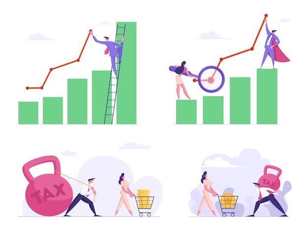 Diagrama de estadística de beneficio financiero de hombre y mujer de negocios