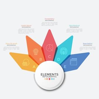 Diagrama de flores con cinco pétalos translúcidos de colores. plantilla de diseño de infografía moderna. concepto de 5 características del proyecto de inicio. ilustración de vector creativo para presentación de negocios, informe.