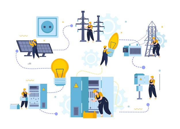 Diagrama de flujo de electricidad e iluminación con personajes de instaladores eléctricos con paneles de energía y elementos de infraestructura