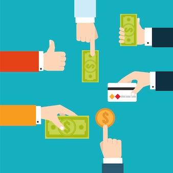 Diagrama de flujo financiero de infografía vectorial para transferencia de dinero