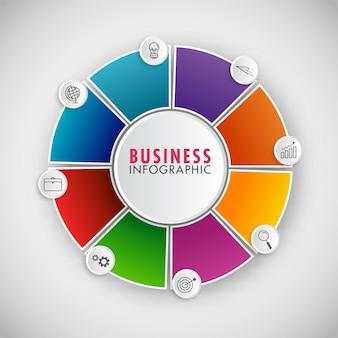 Diagrama de flujo de infografía de círculo colorido con iconos