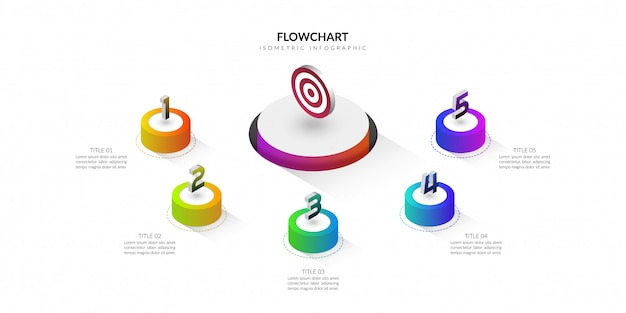 Diagrama de flujo isométrico negocio infografía, plantilla de presentación de pasos de flujo de trabajo