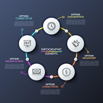 Diagrama de flujo redondo con 5 elementos circulares blancos conectados por líneas multicolores y botones de reproducción. plantilla única de diseño infográfico.