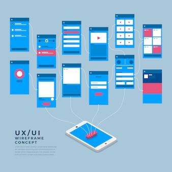 Diagrama de flujo de ux ui. s concepto de aplicación móvil isométrica. ilustración.