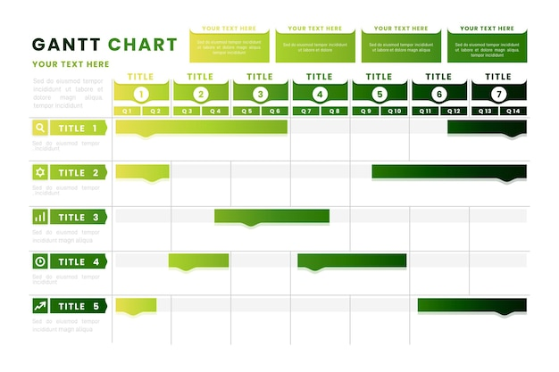 Diagrama de gantt degradado verde