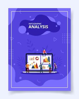 Diagrama de gráfico analítico de personas de análisis de infografía en portátil