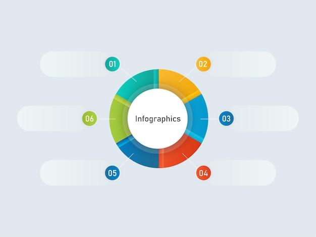 Diagrama de gráfico de infografías coloridas con seis opciones sobre fondo gris.