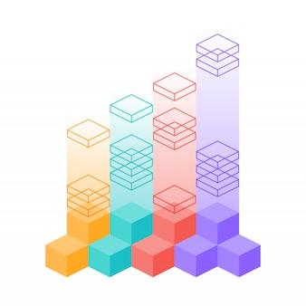 Diagrama de infografía isométrica con pasos de elementos