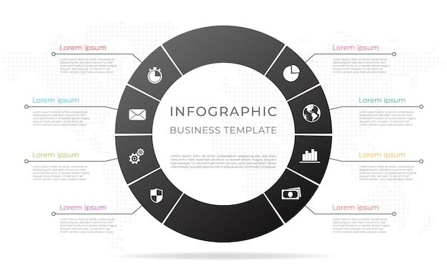 Diagrama infografía plantilla 8 opciones.