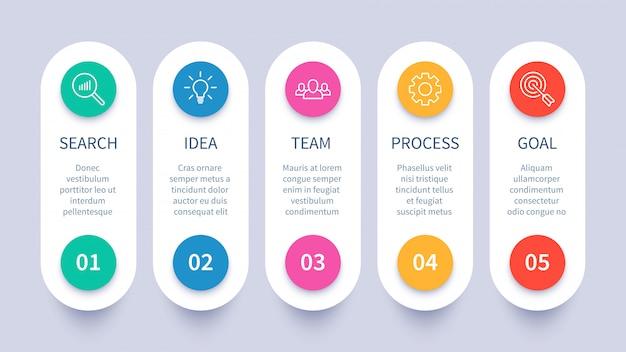 Diagrama infográfico de los pasos del proceso, diseño de la estrategia empresarial, cronograma del flujo de trabajo y plantilla de presentación del diagrama del plan de inicio