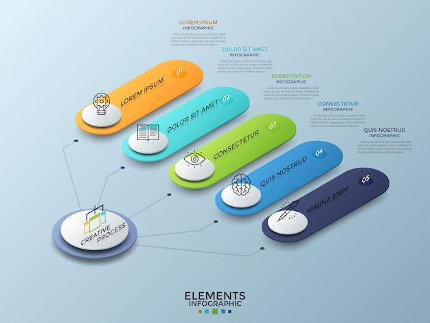 Diagrama isométrico con 5 elementos redondeados numerados de colores conectados al círculo blanco principal. concepto de cinco opciones para elegir. plantilla de diseño de infografía realista. ilustración de vector de folleto.