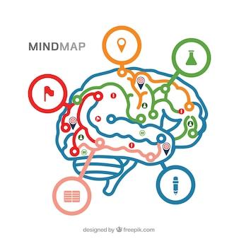 Diagrama moderno con cerebro colorido
