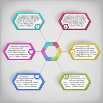 Diagrama de negocios abstracto colorido o infografía con campos de texto