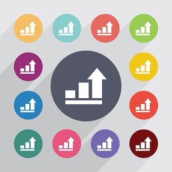 Diagrama de negocios, círculo de símbolo de gráfico, conjunto de iconos planos. botones redondos de colores. vector