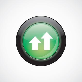Diagrama de negocios, gráfico de cristal icono de signo botón verde brillante. botón del sitio web de interfaz de usuario