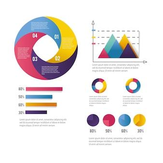 Diagrama de negocios de infografía con estrategia de información