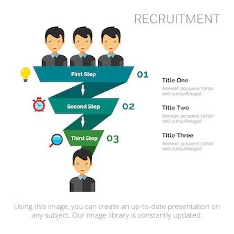 Diagrama de pasos con diapositiva de tres elementos