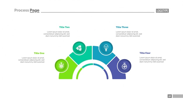 Diagrama de proceso con cuatro elementos diapositiva