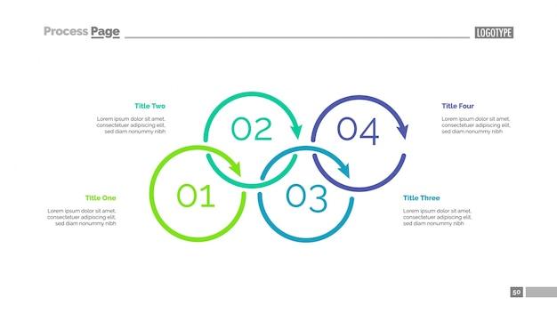 Diagrama de proceso con cuatro elementos slide