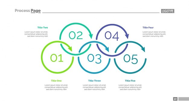Diagrama de proceso con la diapositiva de cinco elementos