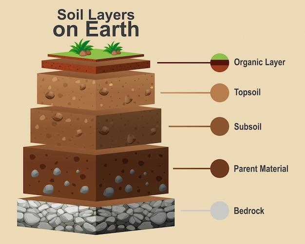Diagrama que muestra diferentes capas de suelo.